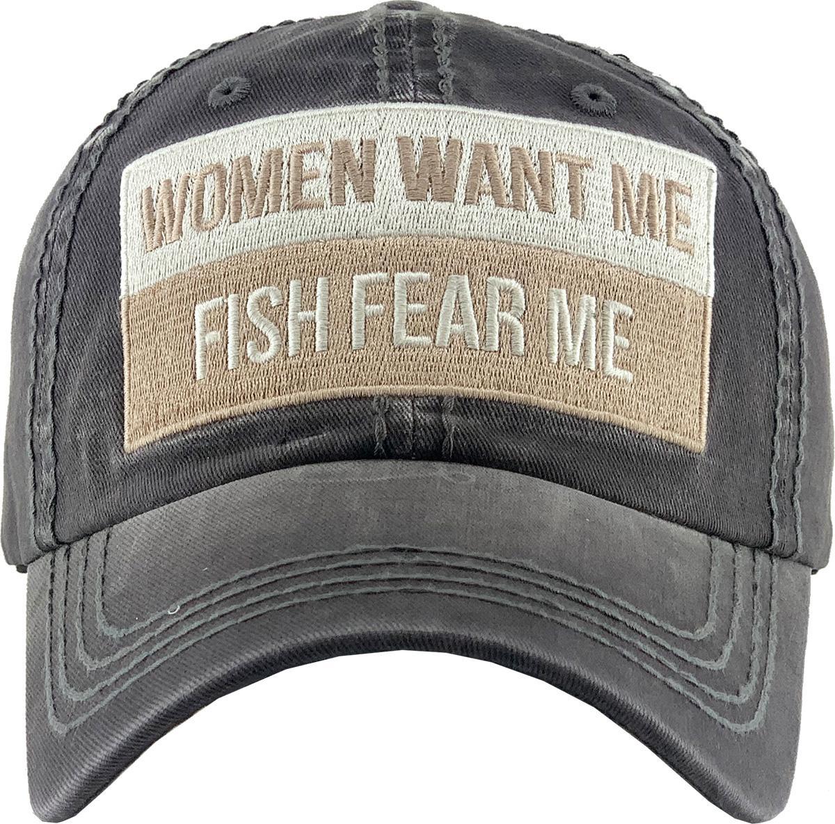 Women Want Me Fish Fear Me Trucker Hat Summer Mesh Cap Trucker Baseball Cap for Men Women